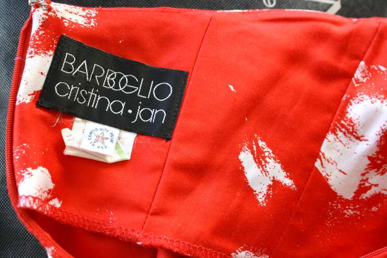 Vintage Barboglio Two Piece Peplum Red Dress Set 8