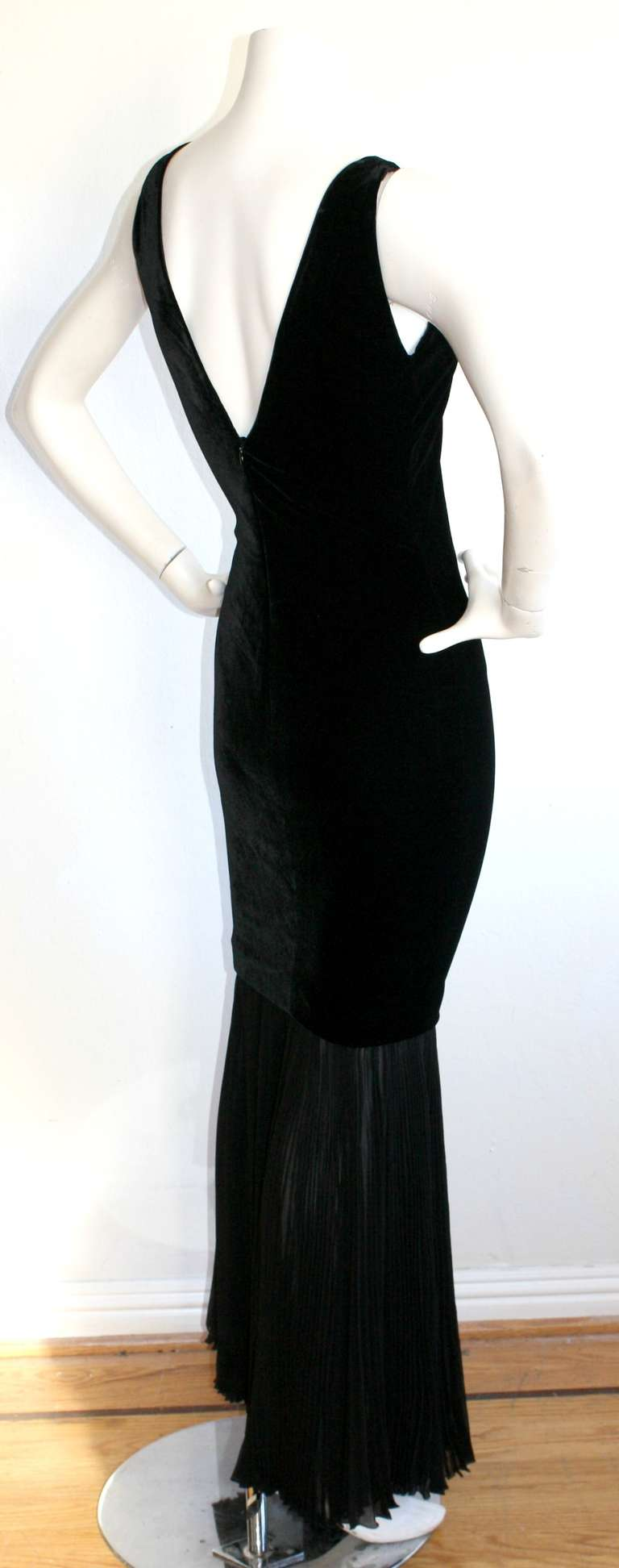 Women's Jean Paul Gaultier Vintage Black Velvet Sexy Mermaid Fishtail Gown For Sale