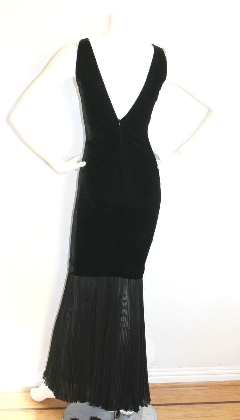 Jean Paul Gaultier Vintage Black Velvet Sexy Mermaid Fishtail Gown For Sale 4