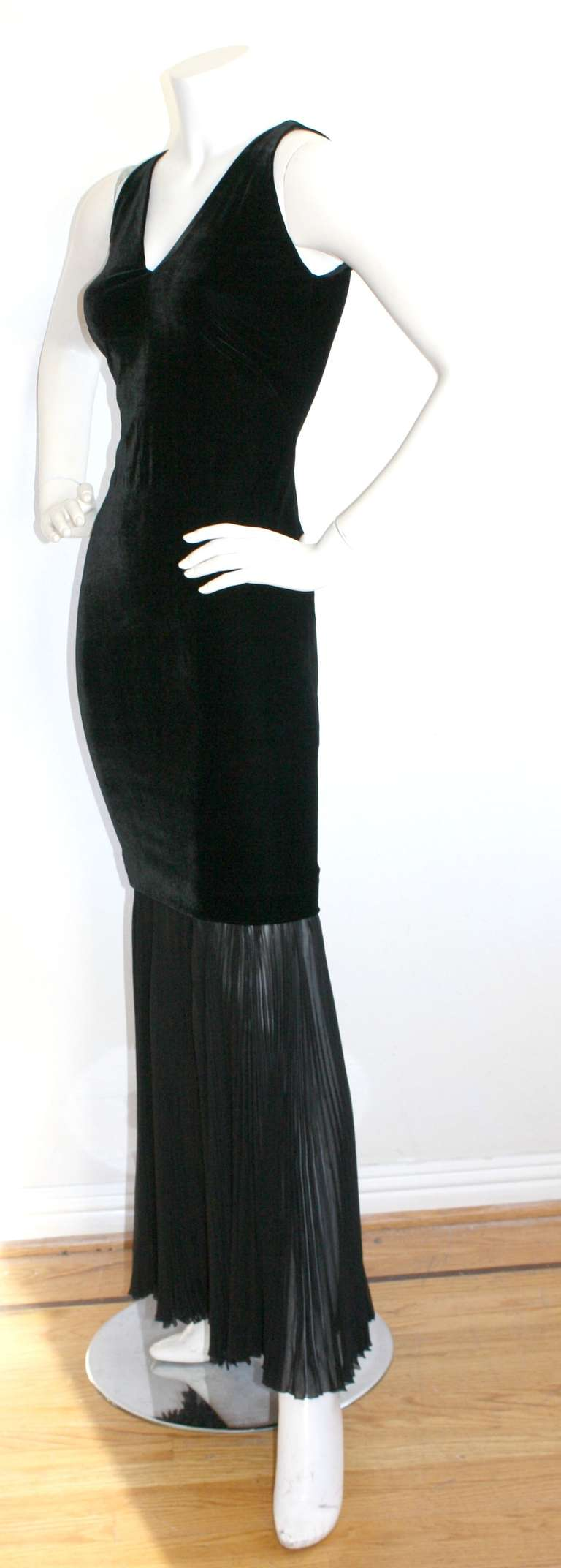 Jean Paul Gaultier Vintage Black Velvet Sexy Mermaid Fishtail Gown 3