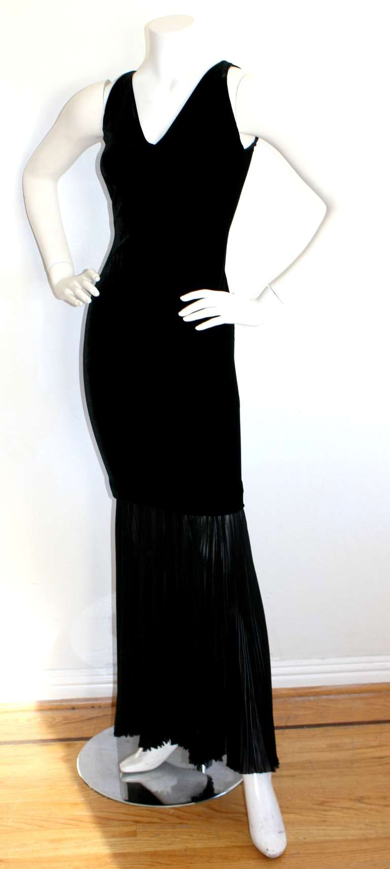 Jean Paul Gaultier Vintage Black Velvet Sexy Mermaid Fishtail Gown 2