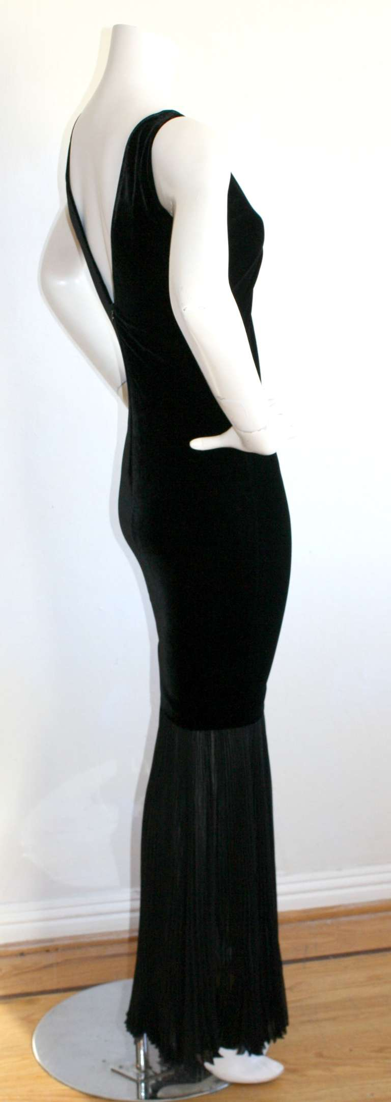 Jean Paul Gaultier Vintage Black Velvet Sexy Mermaid Fishtail Gown For Sale 2