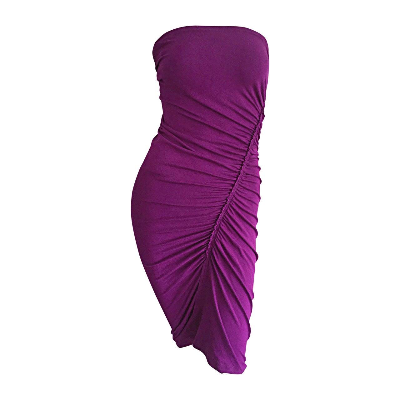 Brand New Donna Karan ' Black Label ' Fall 2010 Purple Ruched Runway Dress 1