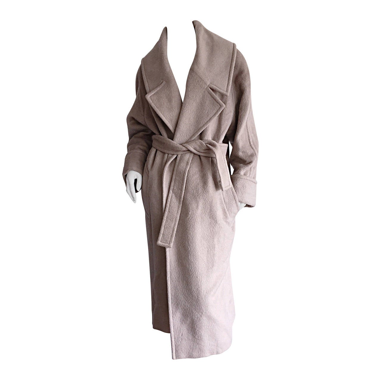 Stylish Vintage Guy Laroche Alpaca + Wool Taupe Wrap Blanket Jacket / Coat For Sale