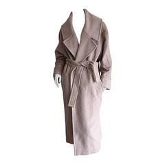 Stylish Vintage Guy Laroche Alpaca + Wool Taupe Wrap Blanket Jacket / Coat