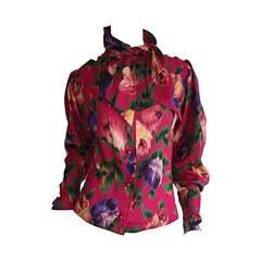 Vintage Emanuel Ungaro Beautiful Rose Watercolor Pussycat Bow Blouse Top