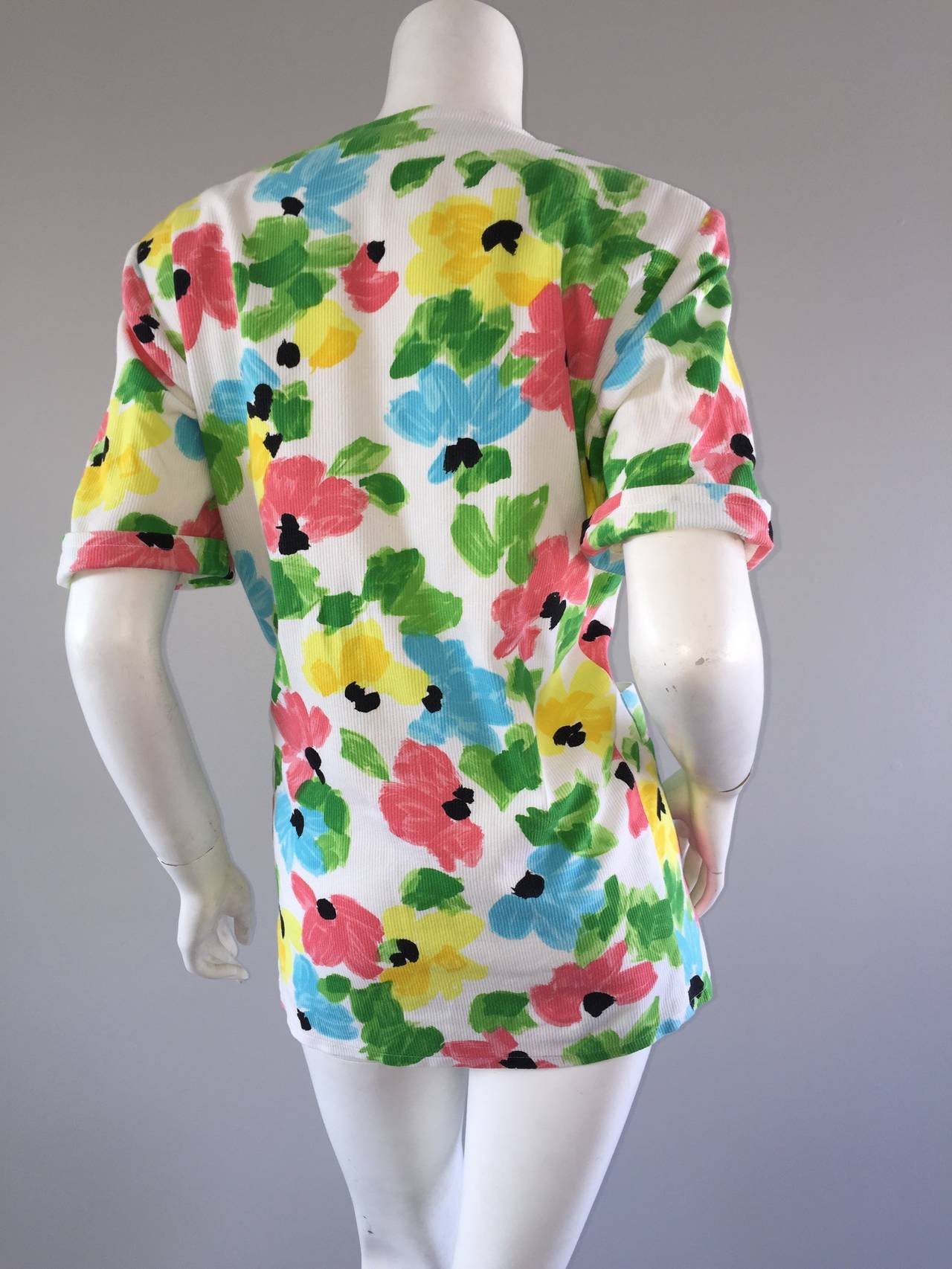 Women's Vintage Courreges Floral Watercolor Short Sleeve Cotton Jacket For Sale