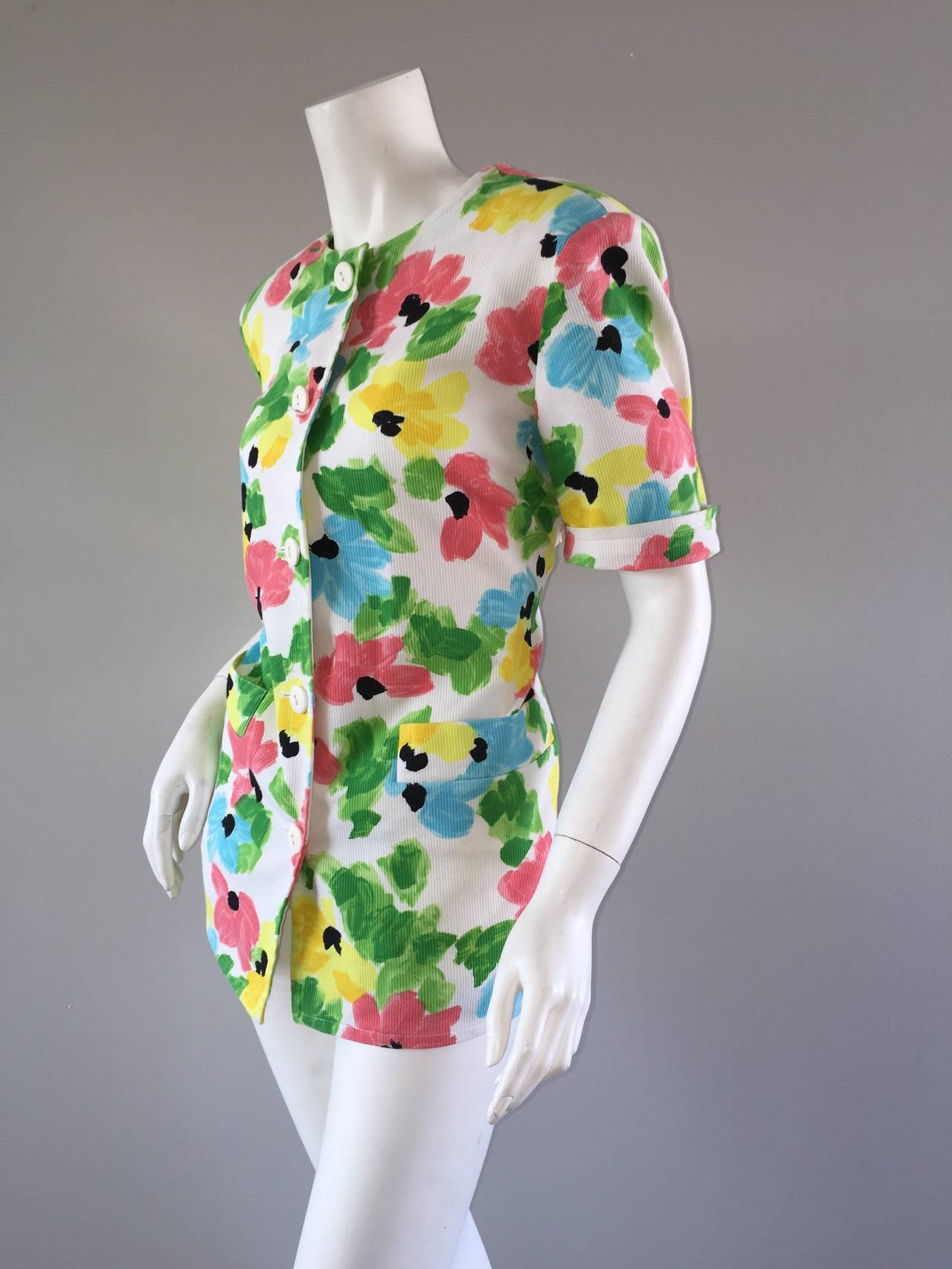Vintage Courreges Floral Watercolor Short Sleeve Cotton Jacket For Sale 1