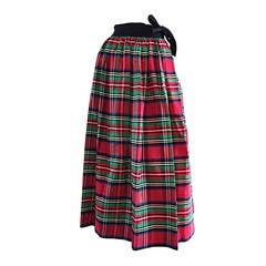 Rare Very Early Vintage Ellen Tracy for Bonwit Teller Silk Taffeta Plaid Skirt