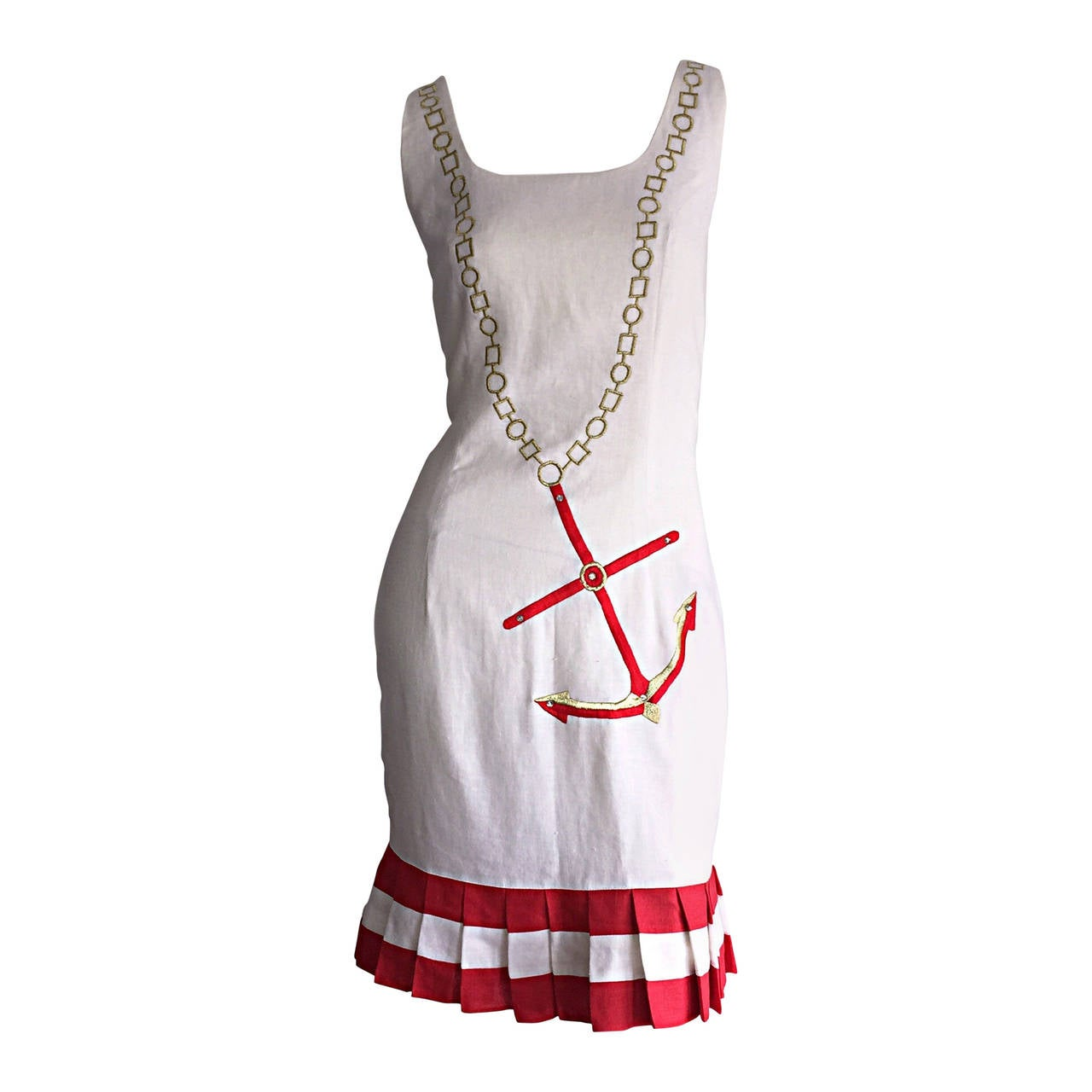 Amazing Vintage Nautical Anchor Novelty Chain Necklace Print Linen Dress