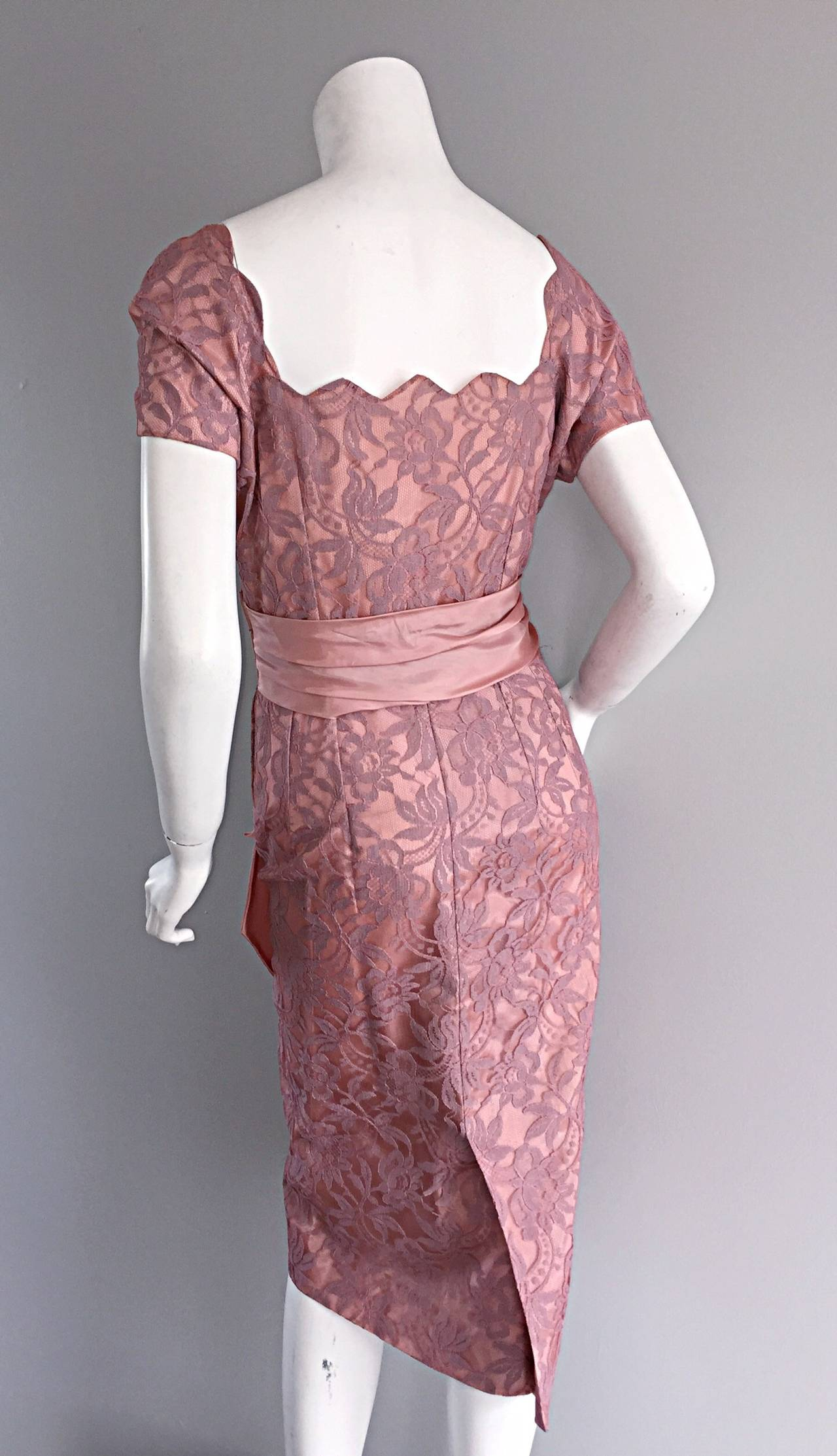Beautiful Vintage 1950s 50s Pink Lace Wiggle Dress w/ Scalloped Edges 7