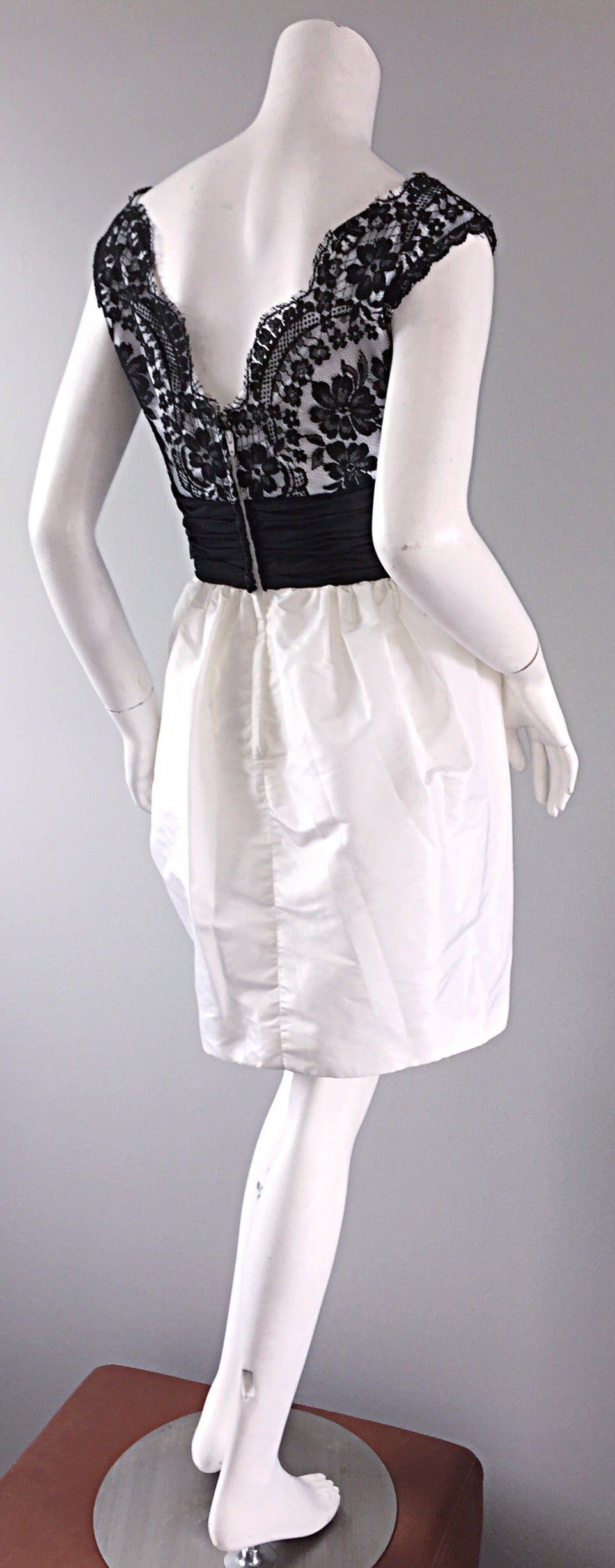 Vintage Victor Costa Black + White Silk Taffeta Lace Cocktail Dress In Excellent Condition For Sale In San Francisco, CA