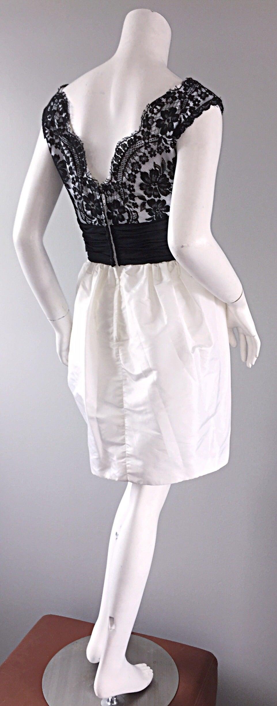 Vintage Victor Costa Black + White Silk Taffeta Lace Cocktail Dress 4