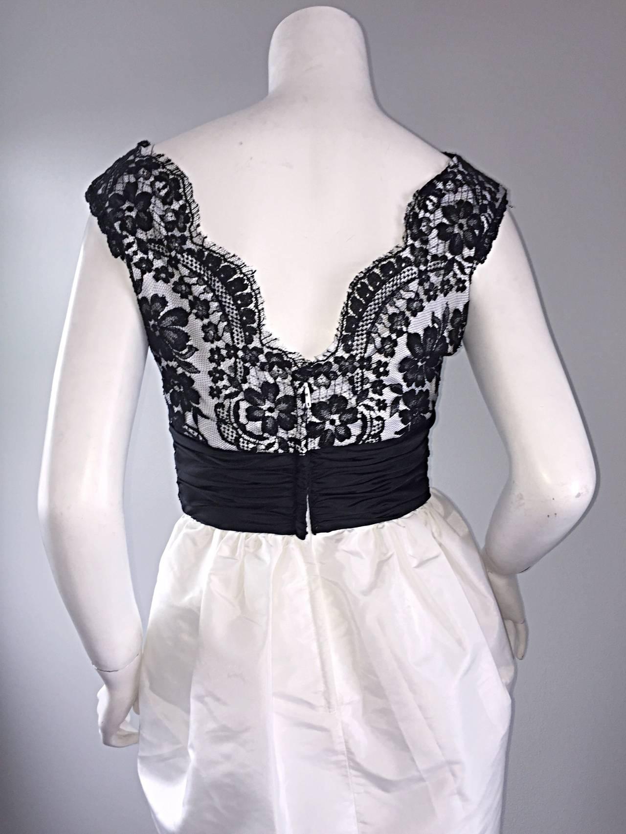 Vintage Victor Costa Black + White Silk Taffeta Lace Cocktail Dress 5