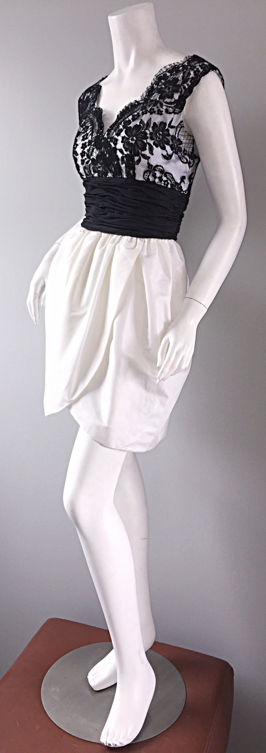 Vintage Victor Costa Black + White Silk Taffeta Lace Cocktail Dress 6