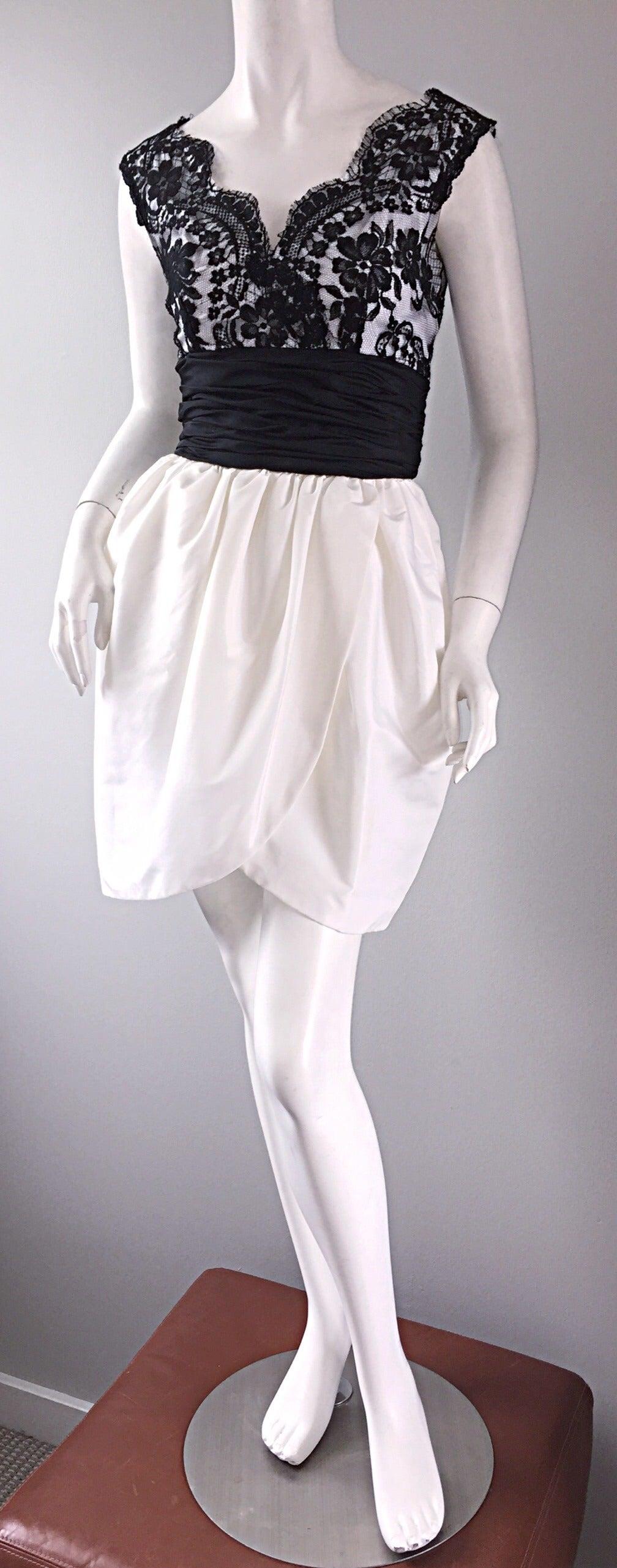 Vintage Victor Costa Black + White Silk Taffeta Lace Cocktail Dress 8