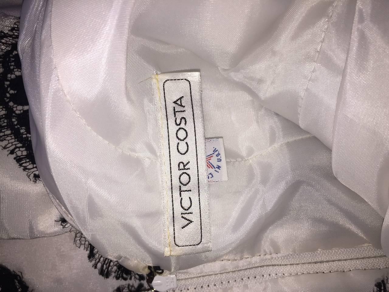 Vintage Victor Costa Black + White Silk Taffeta Lace Cocktail Dress 9