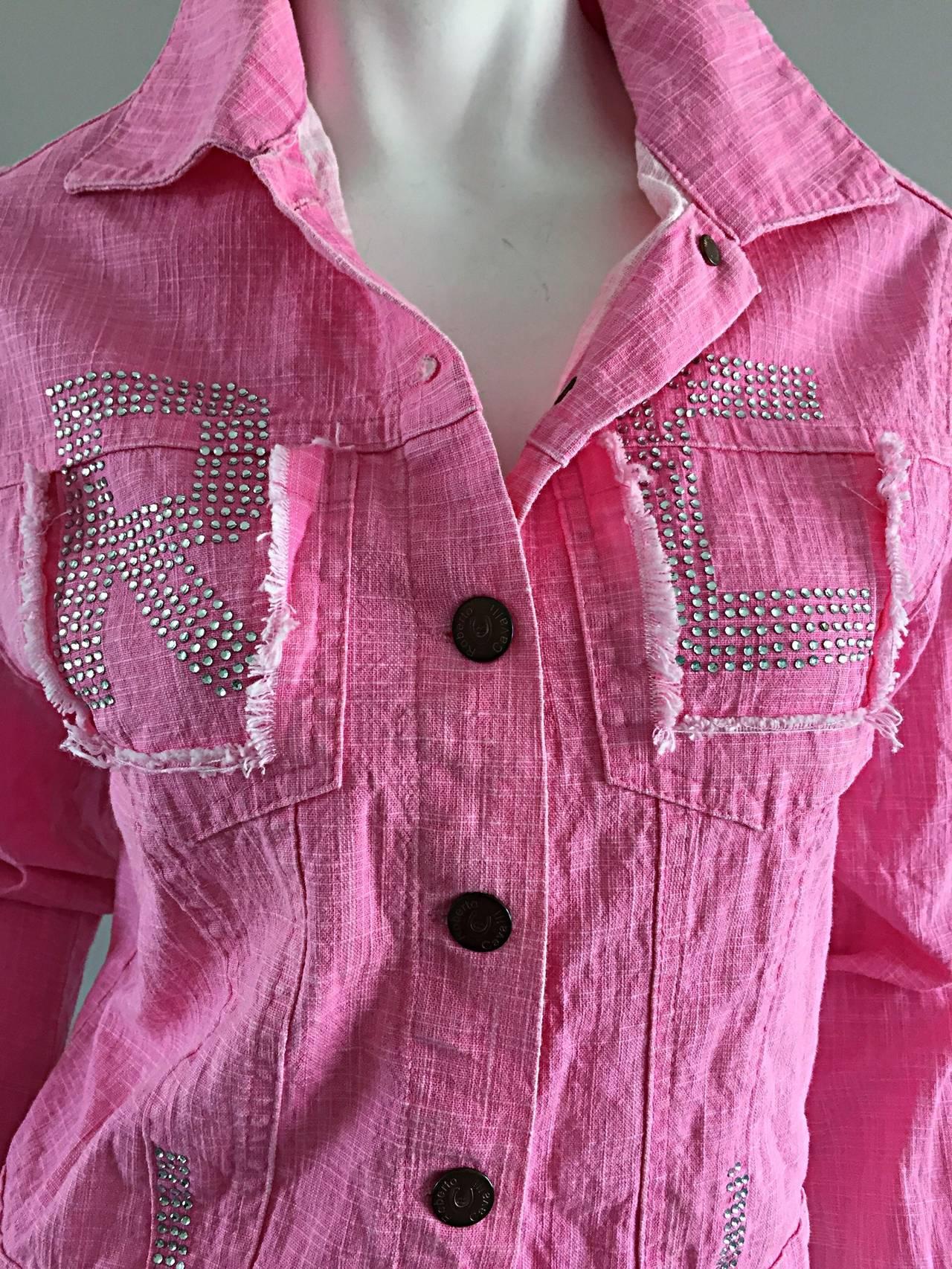 1990s Vintage Roberto Cavalli Pink Denim Jean Jacket + ' R C ' Rhinestones 3
