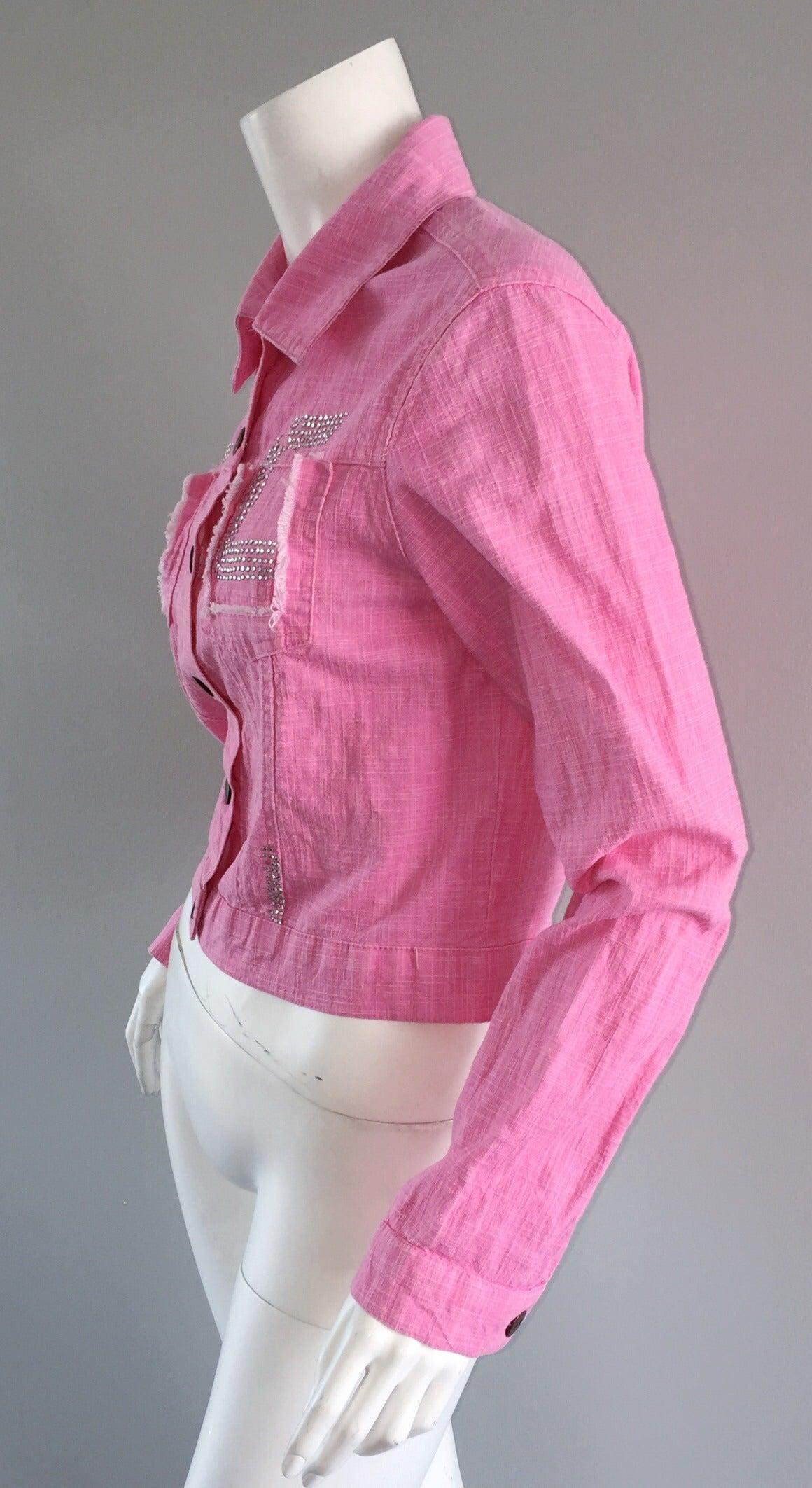 1990s Vintage Roberto Cavalli Pink Denim Jean Jacket + ' R C ' Rhinestones 4