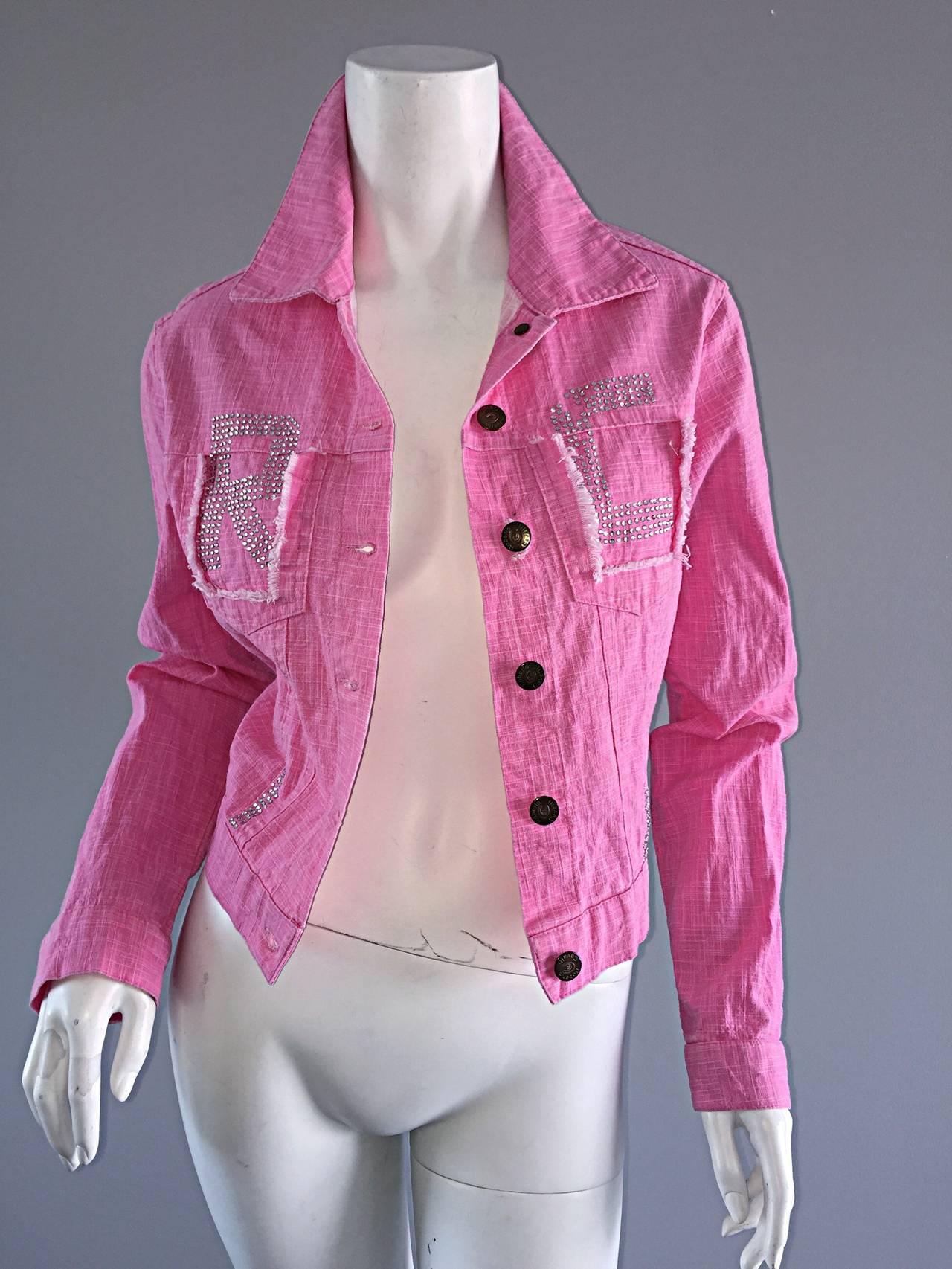 1990s Vintage Roberto Cavalli Pink Denim Jean Jacket + ' R C ' Rhinestones 5