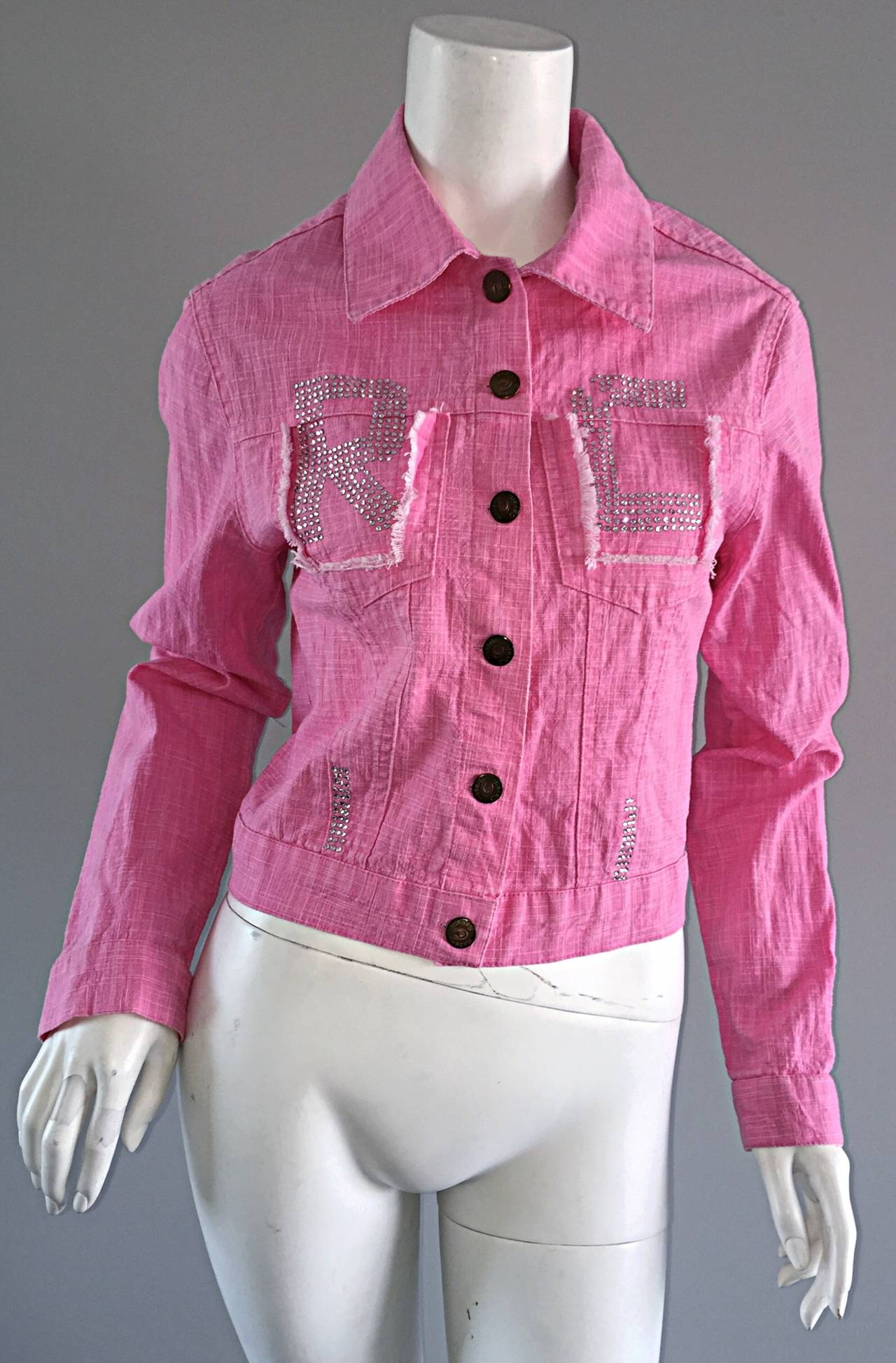 1990s Vintage Roberto Cavalli Pink Denim Jean Jacket + ' R C ' Rhinestones 6