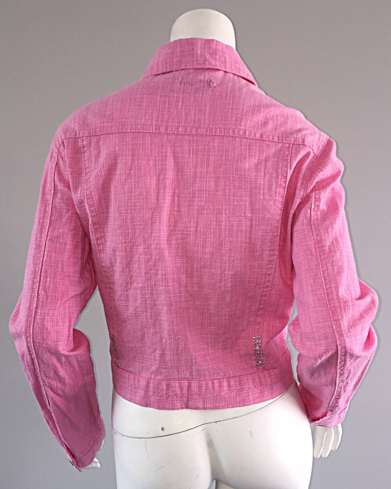1990s Vintage Roberto Cavalli Pink Denim Jean Jacket + ' R C ' Rhinestones 7