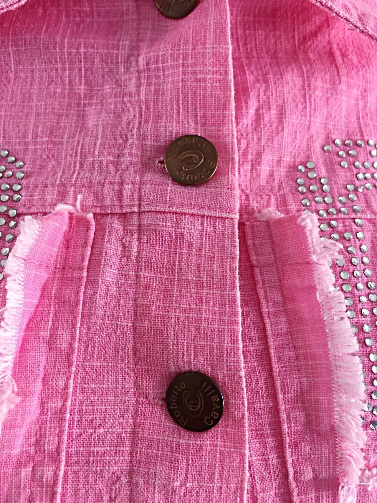 1990s Vintage Roberto Cavalli Pink Denim Jean Jacket + ' R C ' Rhinestones 8