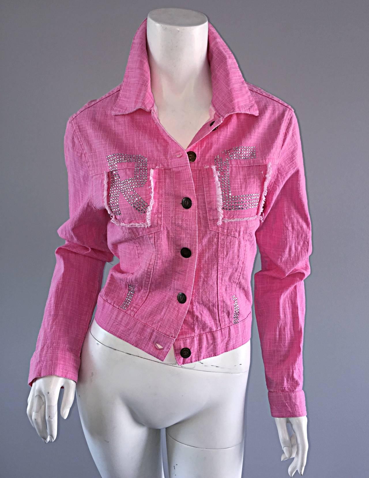 1990s Vintage Roberto Cavalli Pink Denim Jean Jacket + ' R C ' Rhinestones 9