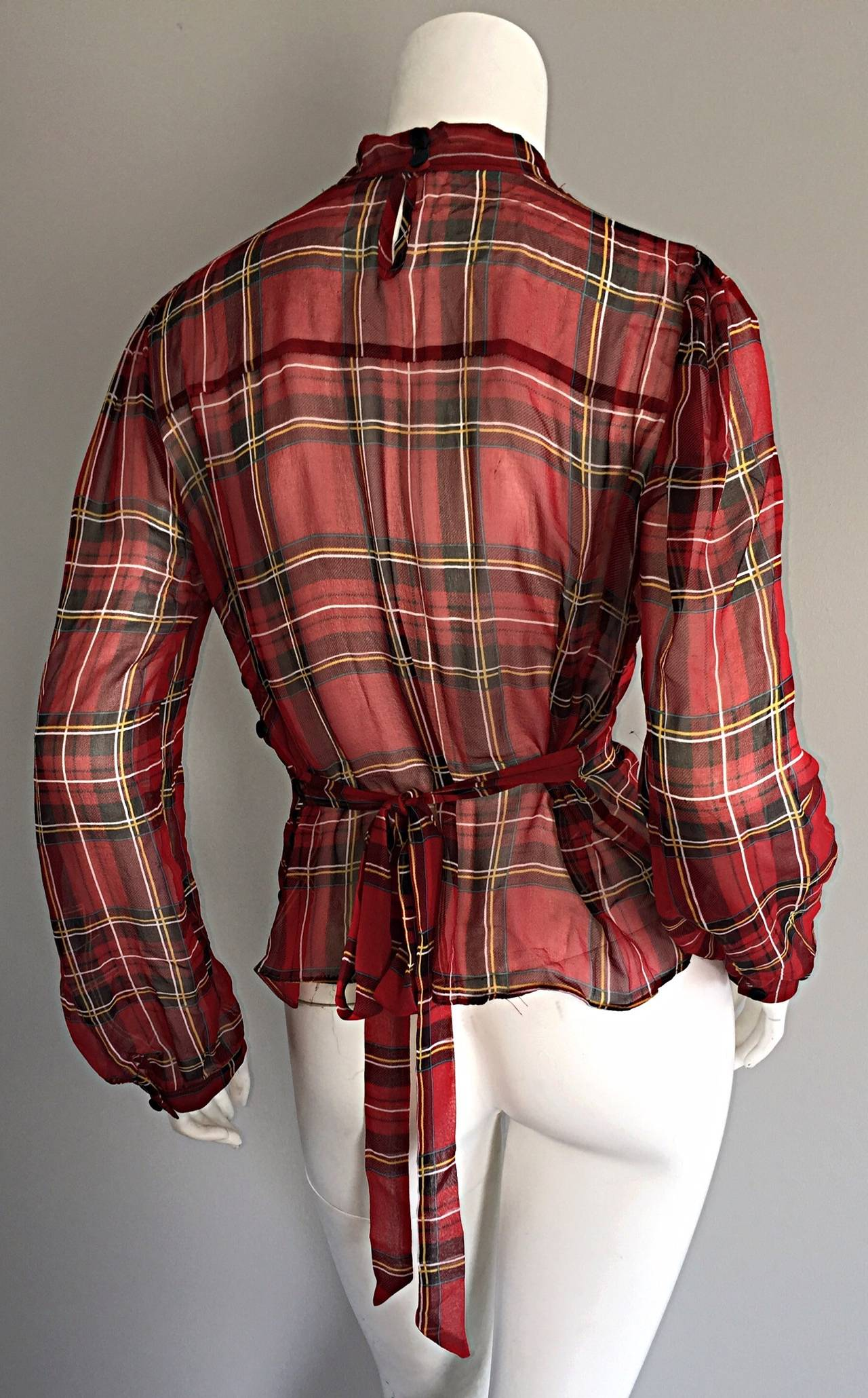 1990s Vintage Betsey Johnson Tartan Plaid Tuxedo Ruffle Silk Blouse w/ Bow In Excellent Condition For Sale In San Francisco, CA