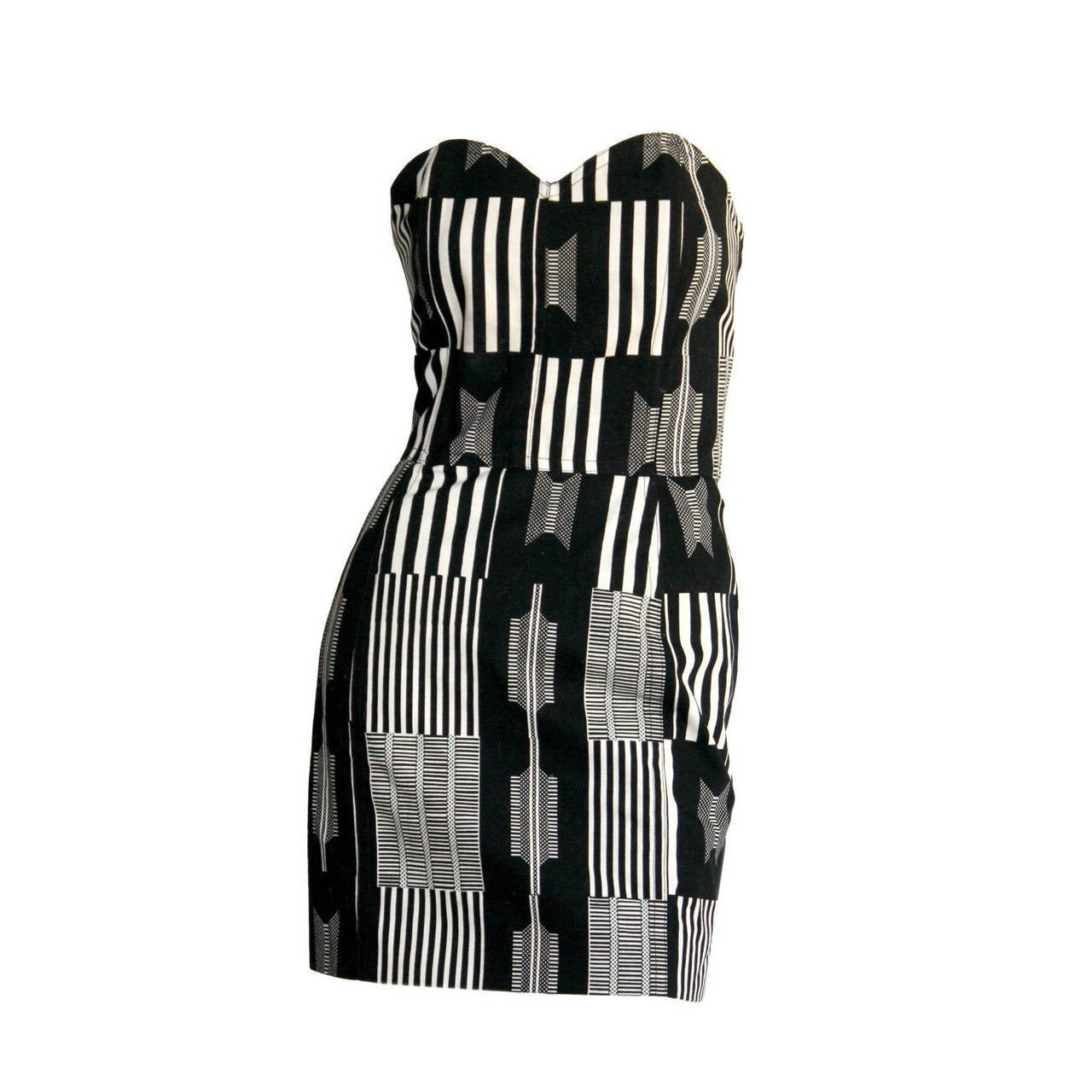 "Vintage Patrick Kelly "" Barcode "" Black & White Avant Garde Mini Dress For Sale"