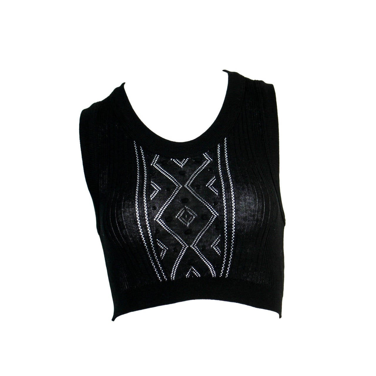 Sexy Vintage Jean Paul Gaultier Geometric Crochet Black Crop Top 1