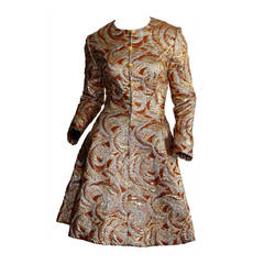 Gorgeous 1960s Richard Tam Neiman Marcus Gold Bronze Silver Space Age Dress