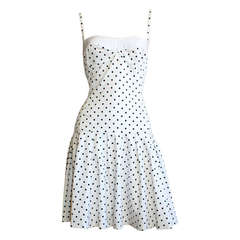 "Enrico Coveri Vintage "" Pretty Woman "" Black White Polka Dot Body Con Dress"
