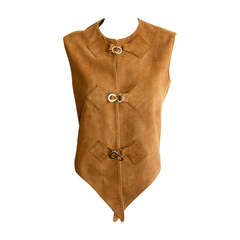 1960s Pierre Cardin Vintage Leather Suede Mod Space Age Vest