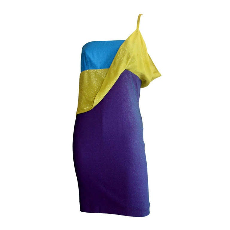Sexy Vintage Gianni Versace Couture Metallic Colorblock Mini Dress For Sale