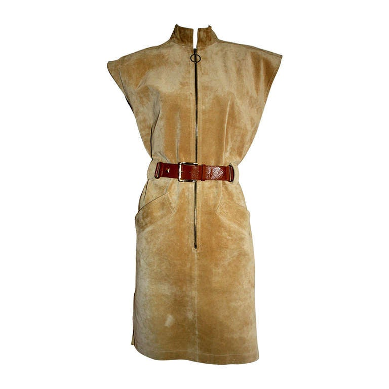Yves Saint Laurent Vintage Pigskin Leather Suede Safari Dress 1