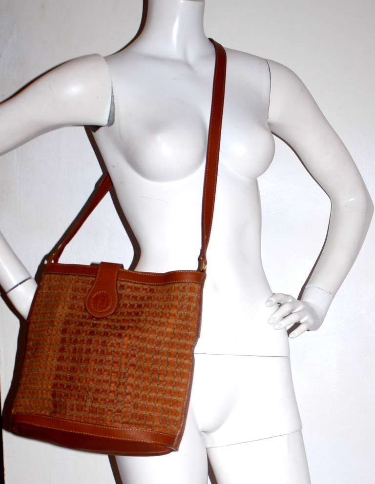 Fendi New Vintage Fendi Brown Tan Leather Woven Crossbody Bag