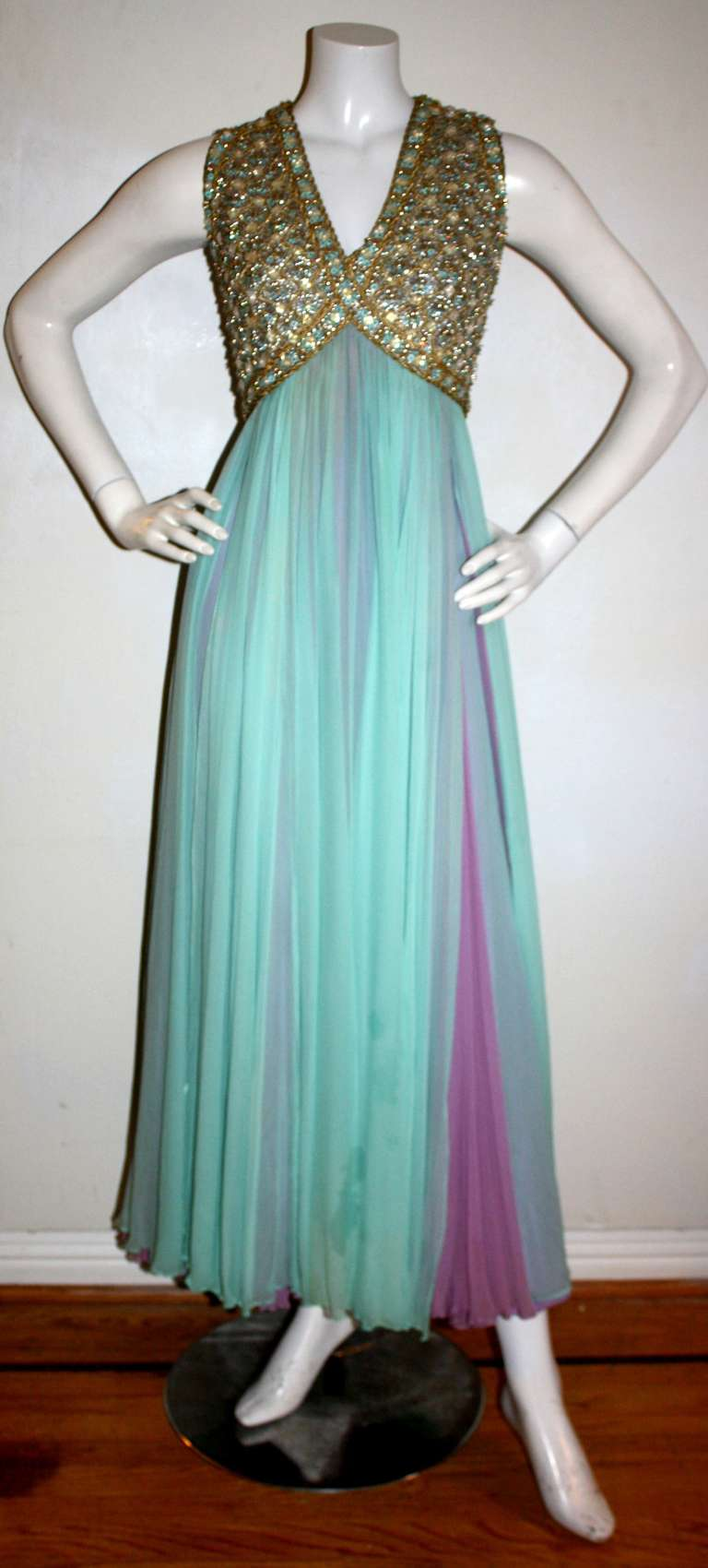 Stunning Vintage Greek Grecian Goddess Heavily Jeweled Chiffon Gown 2