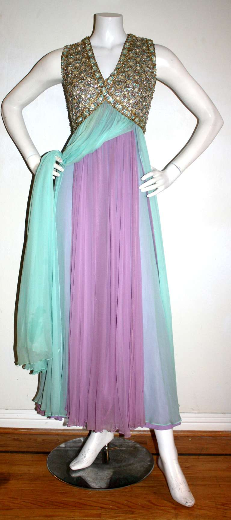 Stunning Vintage Greek Grecian Goddess Heavily Jeweled Chiffon Gown 3