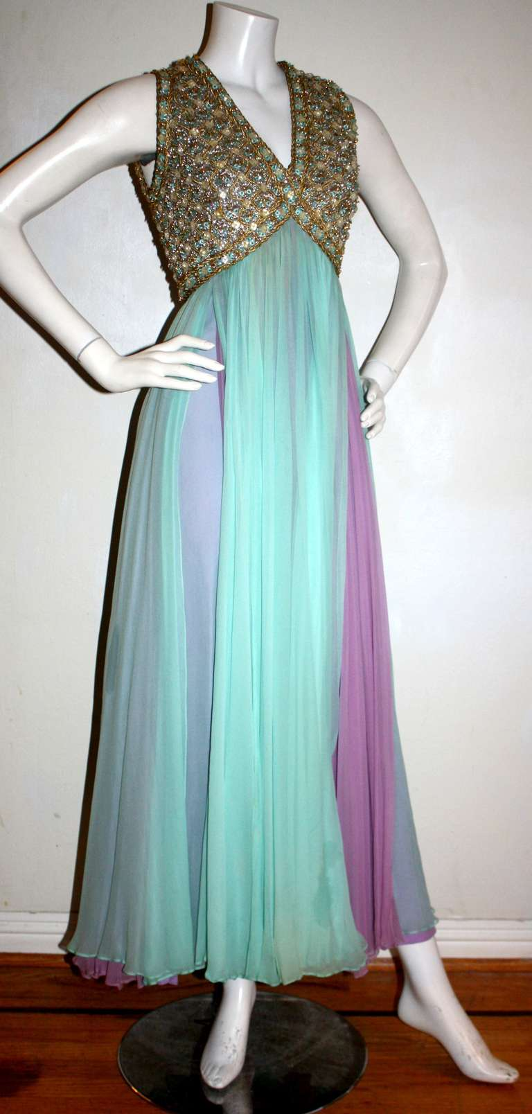 Stunning Vintage Greek Grecian Goddess Heavily Jeweled Chiffon Gown 4