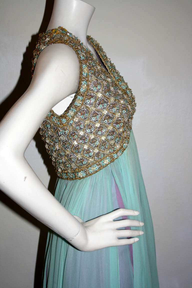 Stunning Vintage Greek Grecian Goddess Heavily Jeweled Chiffon Gown 5