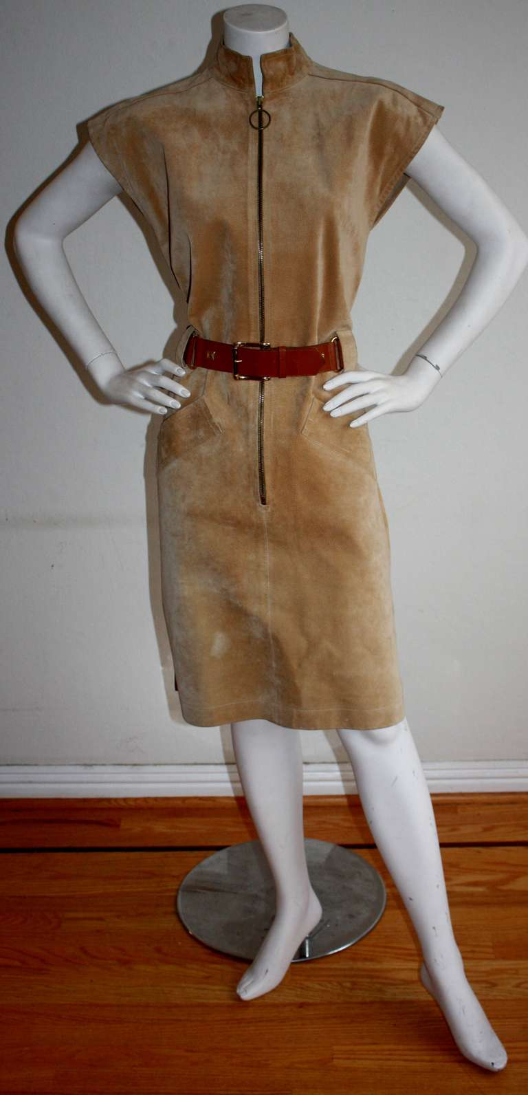 Yves Saint Laurent Vintage Pigskin Leather Suede Safari Dress 5