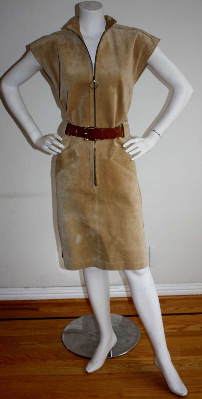 Yves Saint Laurent Vintage Pigskin Leather Suede Safari Dress 8