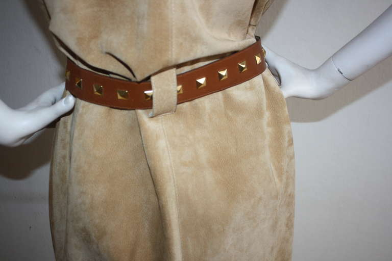 Yves Saint Laurent Vintage Pigskin Leather Suede Safari Dress 9