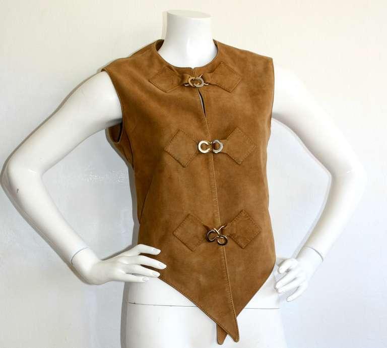 1960s Pierre Cardin Vintage Leather Suede Mod Space Age Vest 2