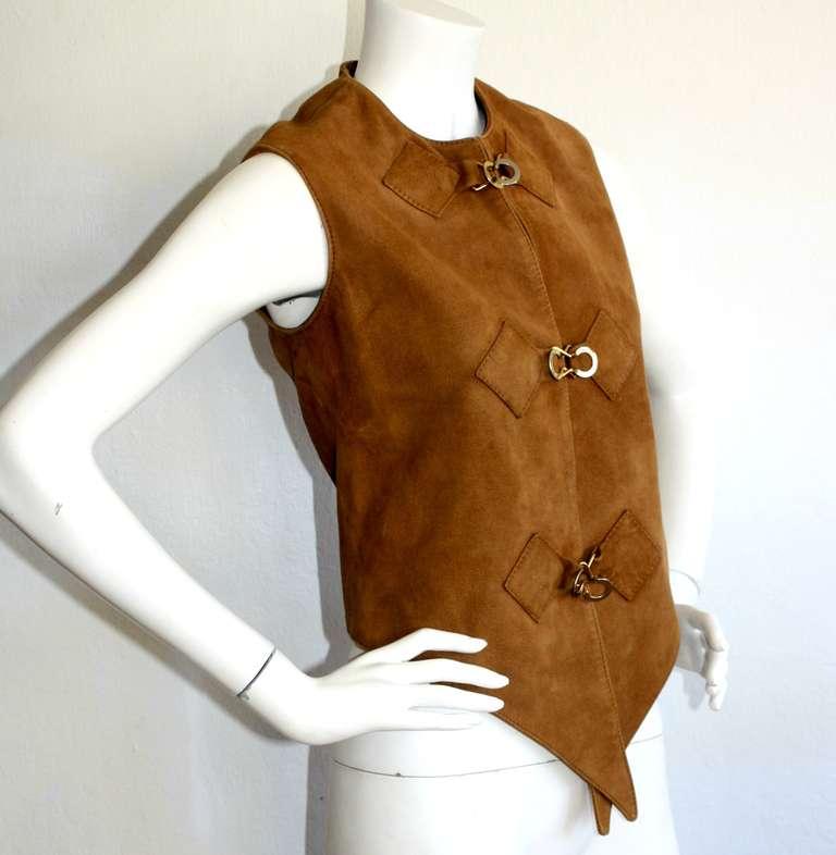 1960s Pierre Cardin Vintage Leather Suede Mod Space Age Vest 3