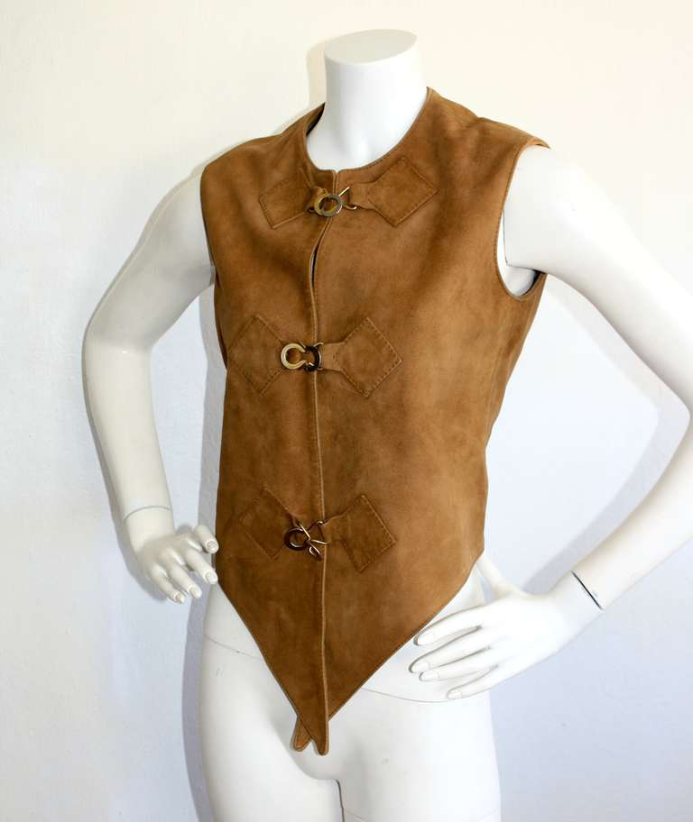 1960s Pierre Cardin Vintage Leather Suede Mod Space Age Vest 6