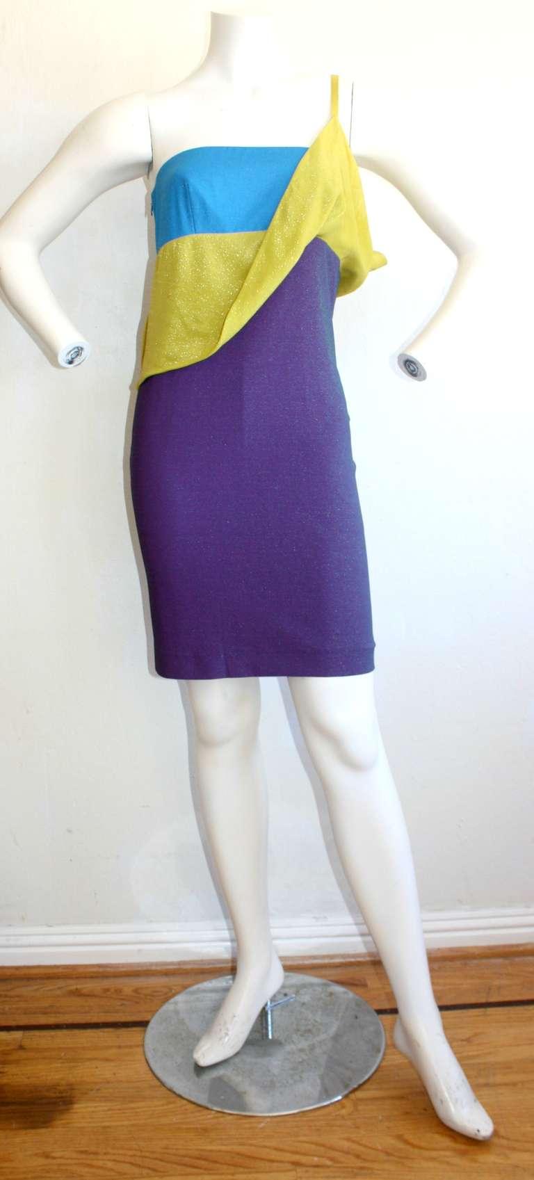Sexy Vintage Gianni Versace Couture Metallic Colorblock Mini Dress 5