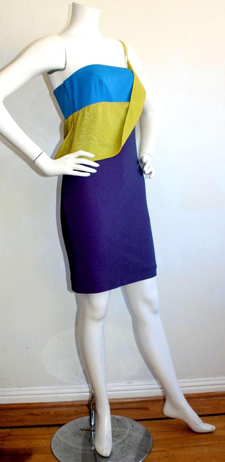 Sexy Vintage Gianni Versace Couture Metallic Colorblock Mini Dress 2