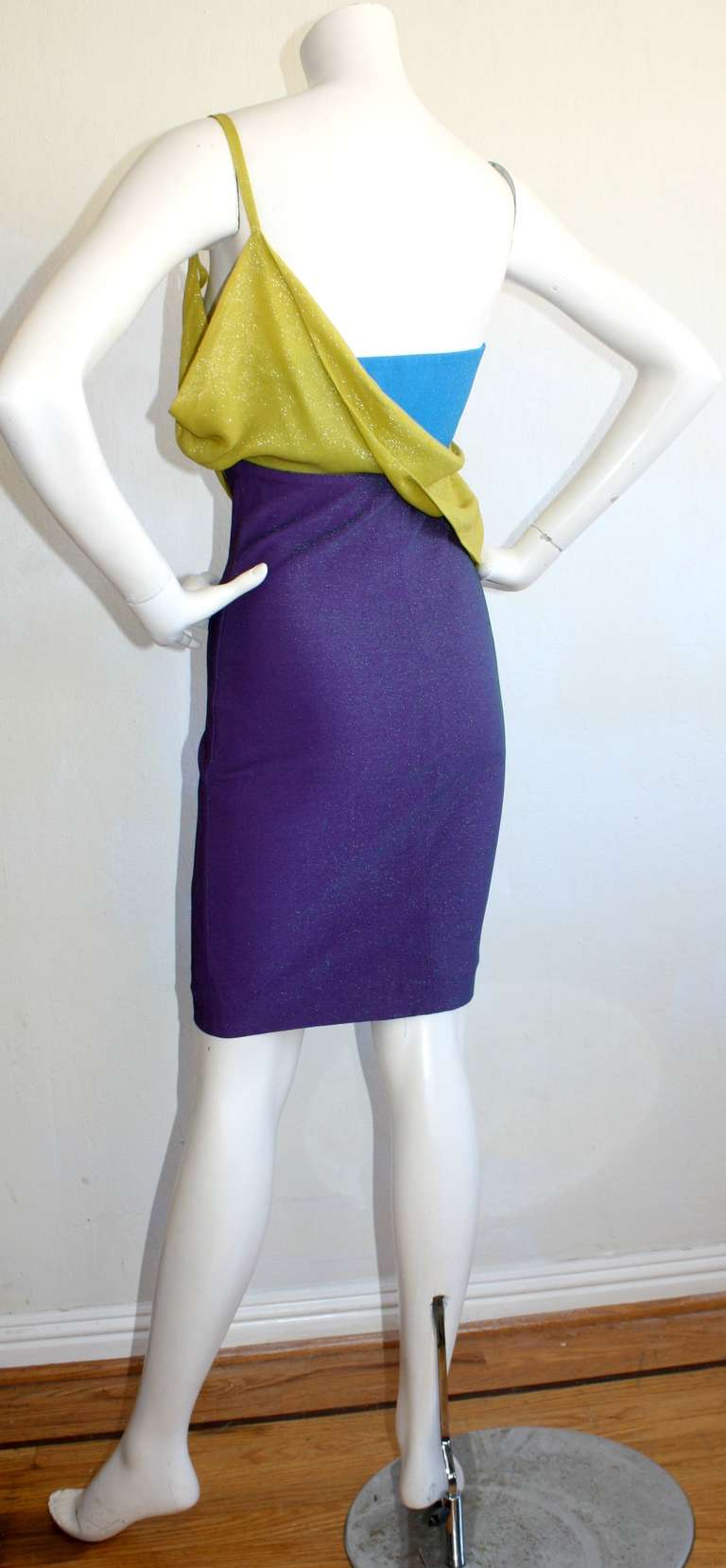 Sexy Vintage Gianni Versace Couture Metallic Colorblock Mini Dress 3